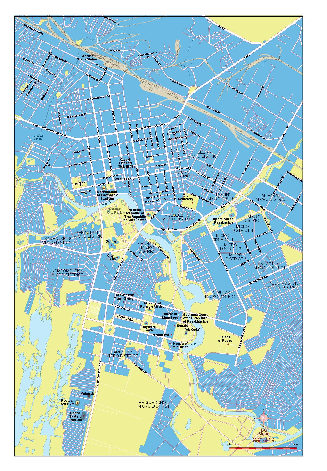 Astana Vector City Maps Eps Illustrator Freehand Corel Draw - astana map
