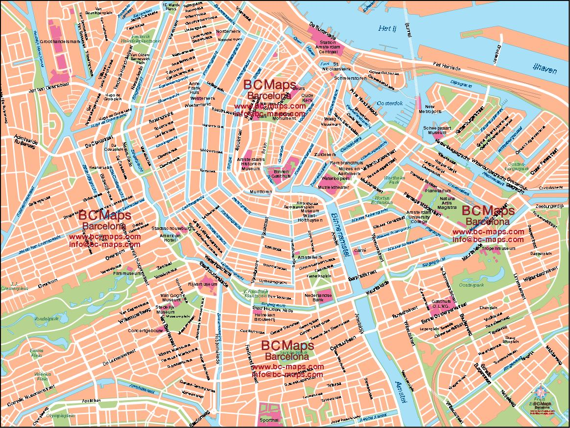 Vector Map City Amsterdam Eps Vectorial Illustrator Pdf Editable – Amsterdam Tourist Map Pdf