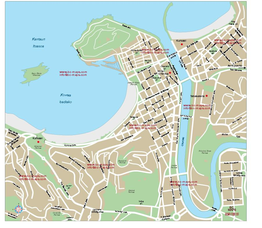 San Sebastin Vector city maps eps illustrator freehand Corel