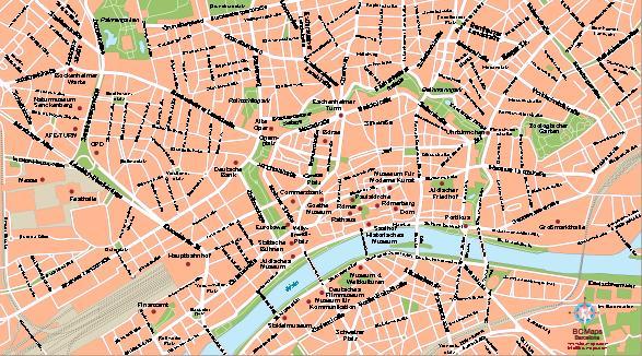 Frankfurt Vector city maps eps illustrator freehand Corel draw