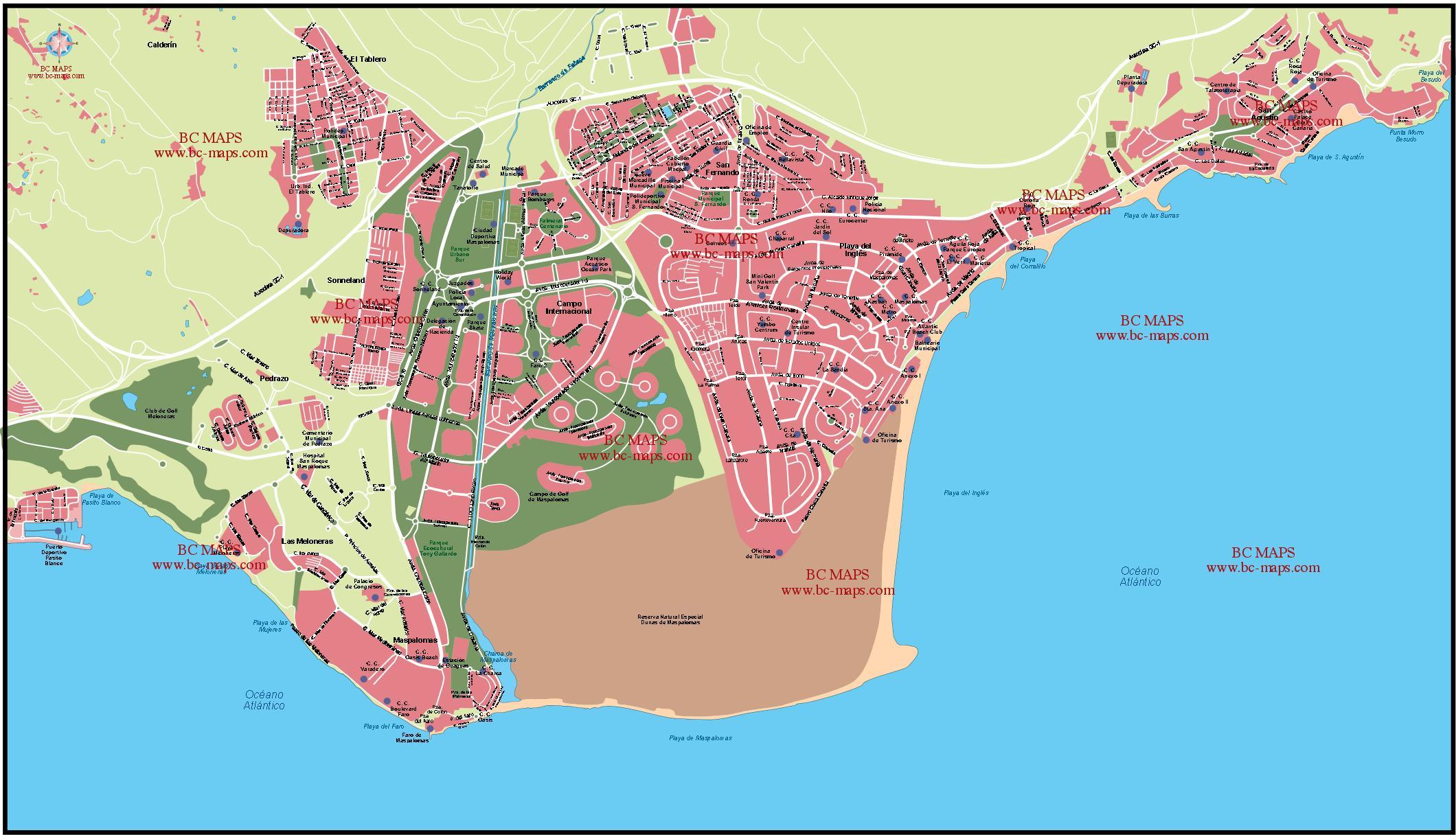 Maspalomas Spain  City pictures : Vector city maps Maspalomas Spain