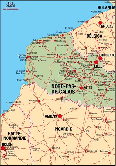 NordPasdeCalais Vector city maps eps illustrator freehand