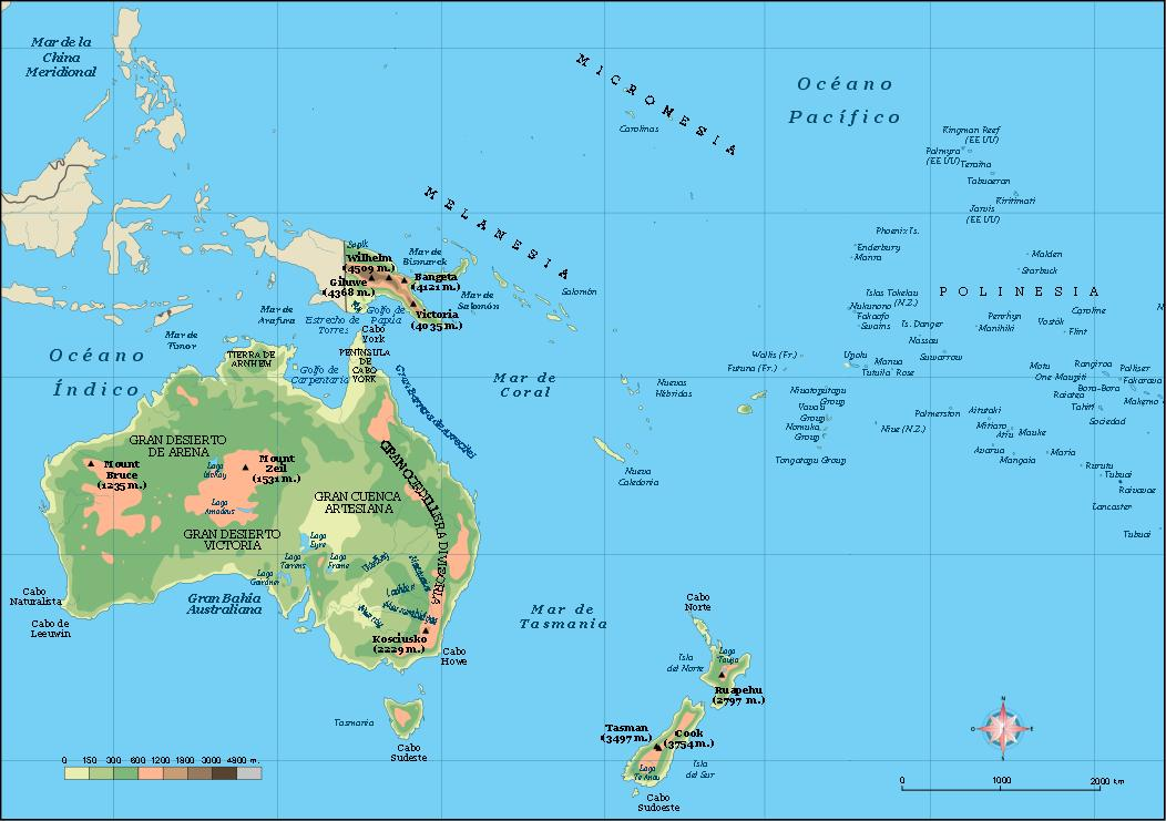 Oceania Vector City Maps Eps Illustrator Freehand Corel Draw - Physical map of oceania