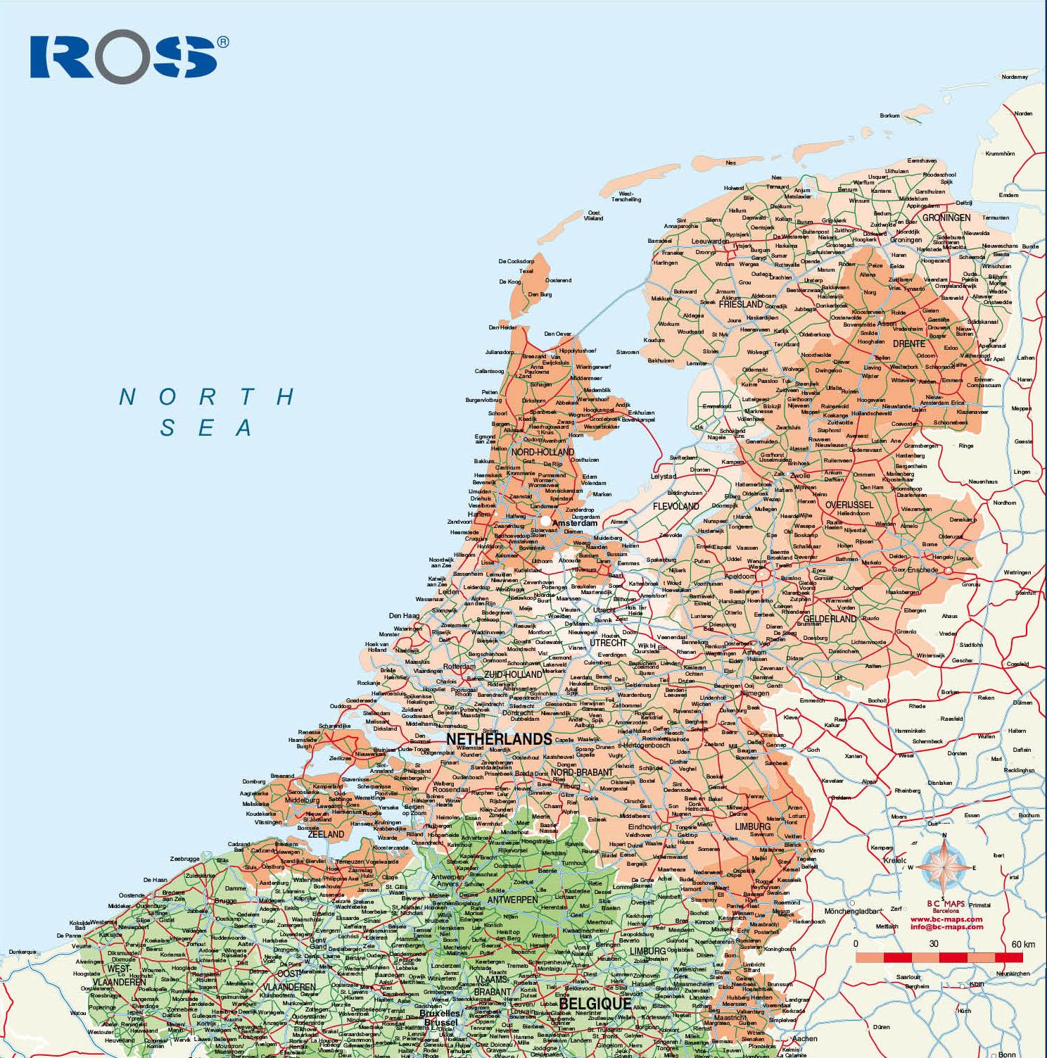 World Road Map Pdf. Sample vector map Netherlands  Vector city maps eps illustrator freehand Corel